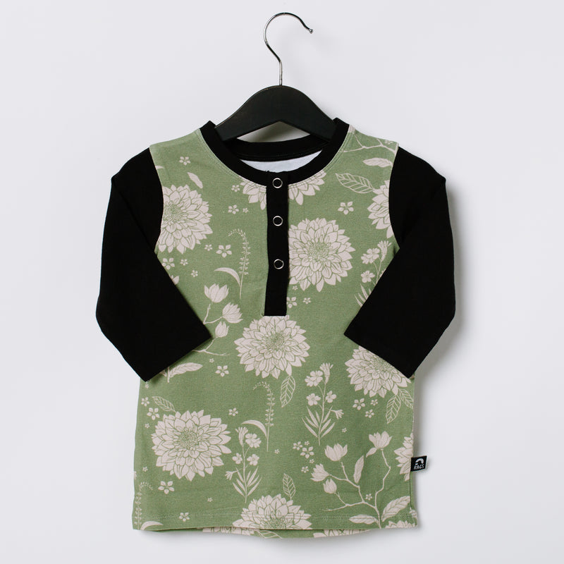 3/4 Sleeve Henley Rounded Kids Tee - 'Chrysanthemum Floral' - Oil Green