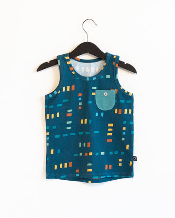 Kids Pocket Tank Tee - 'Swatch Squares' - Bristol Blue