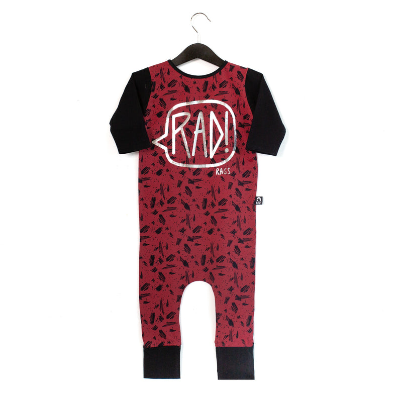 3/4 Length Sleeve Rag Romper - 'RAD!' - Red Scribbles