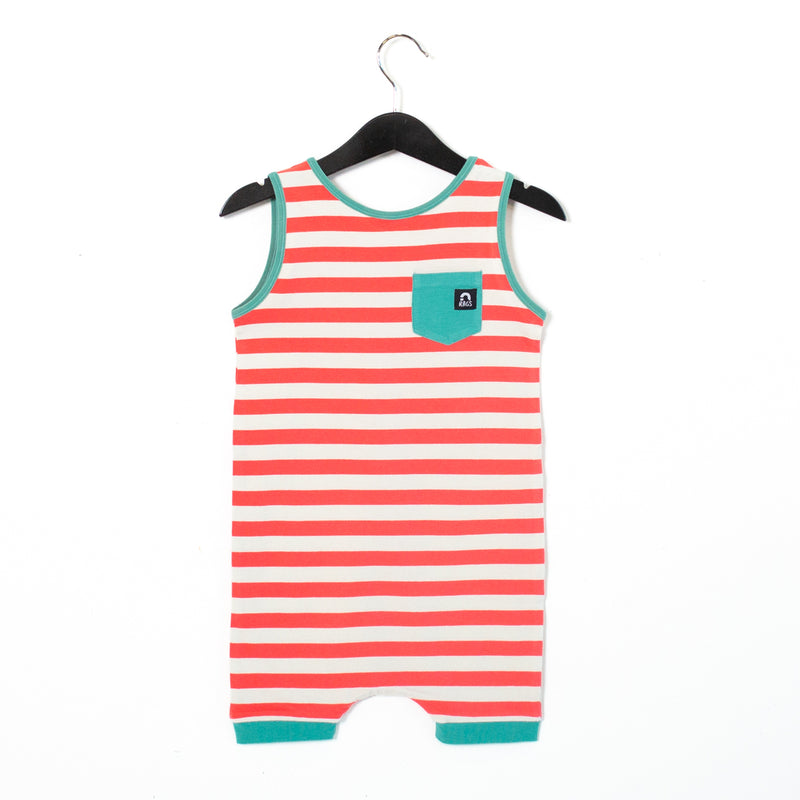 Tank Pocket Short Rag Romper - 'Cayenne Stripe' - Mystic Blue