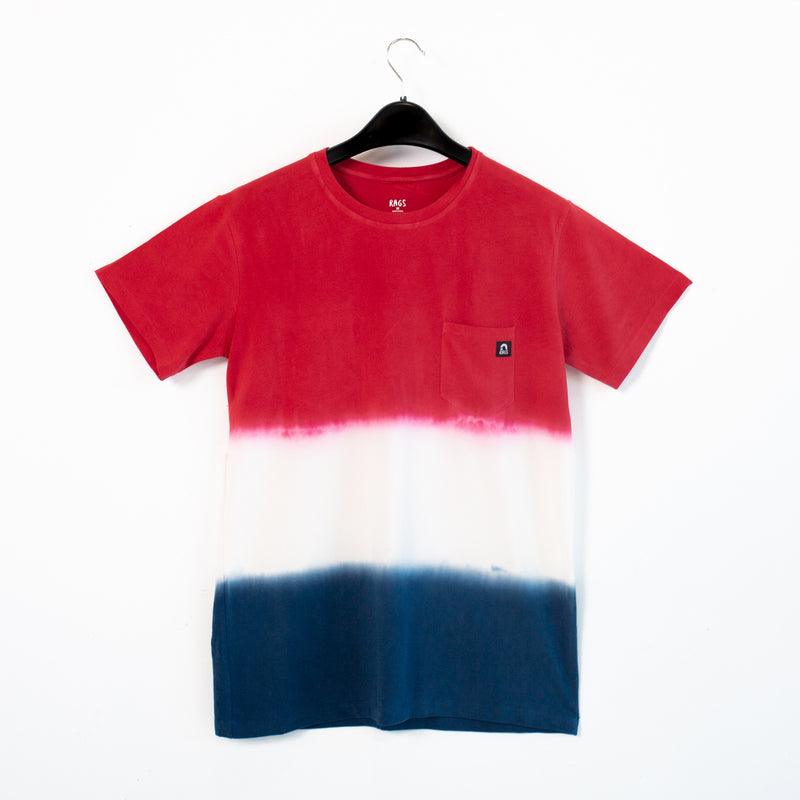 Adult Unisex Tee - 'Red White & Blue Dip Dye'