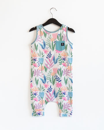 Tank Pocket Capri Rag Romper - 'Painterly Floral' - Cream