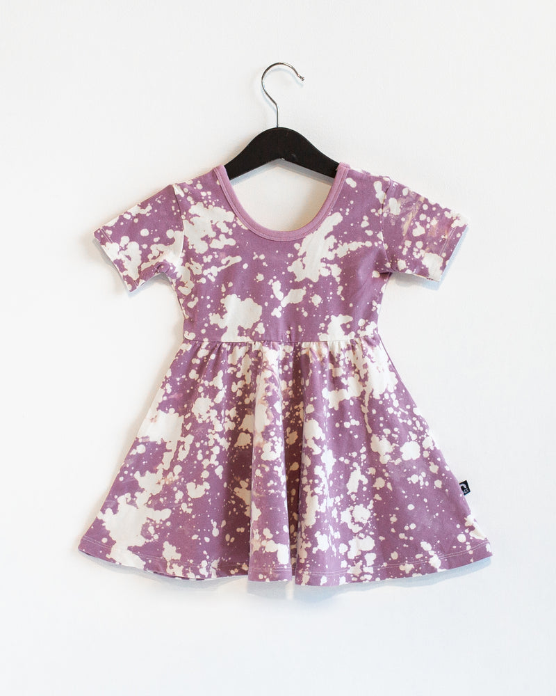 Short Sleeve Swing Dress - 'Orchid Tie Dye' - Whisper White