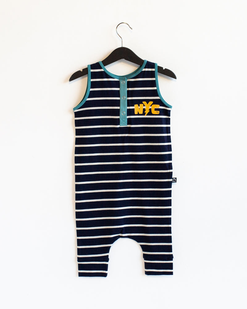 Tank Henley Capri Rag Romper - 'Double Sided NYC' - Navy Stripe