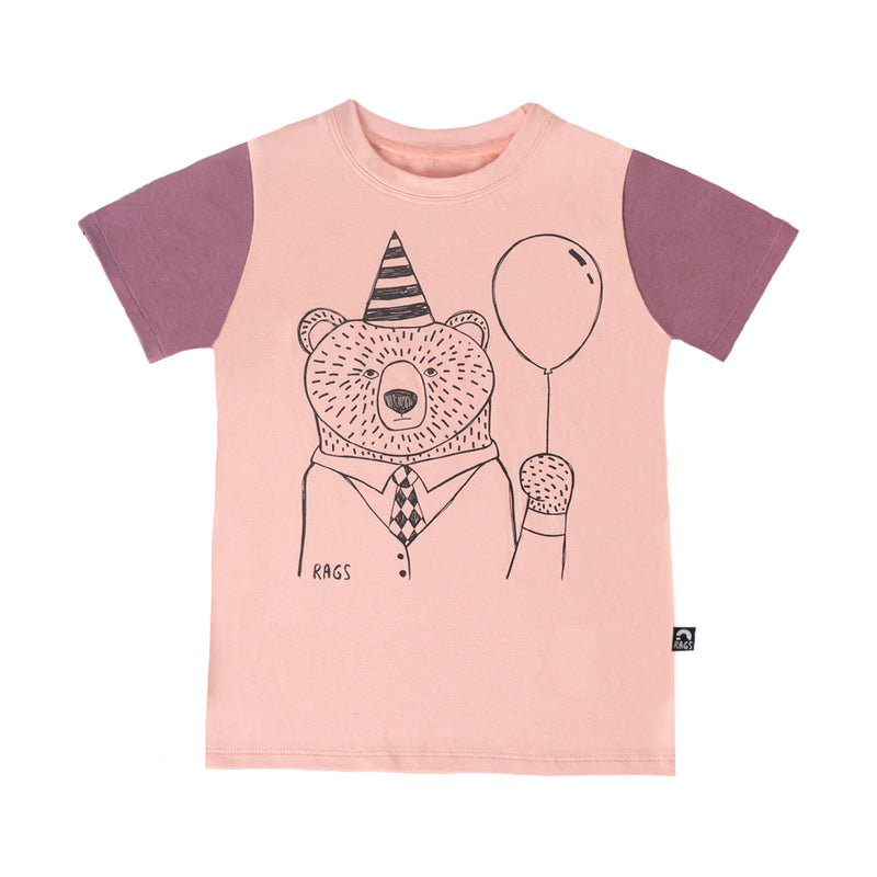 Short Sleeve Kids Tee - 'Party Bear' - English Rose