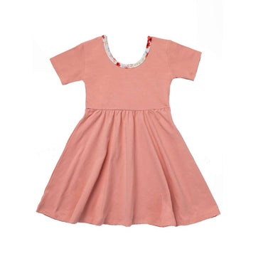Short Sleeve Swing Dress - 'Coral Almond'