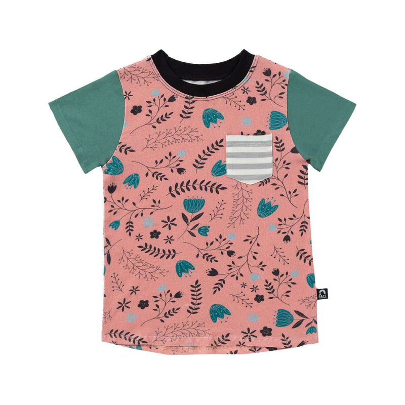 Kid's Drop Back Tee Shirt - 'Whimsy Tulip Floral' - Lobster Bisque