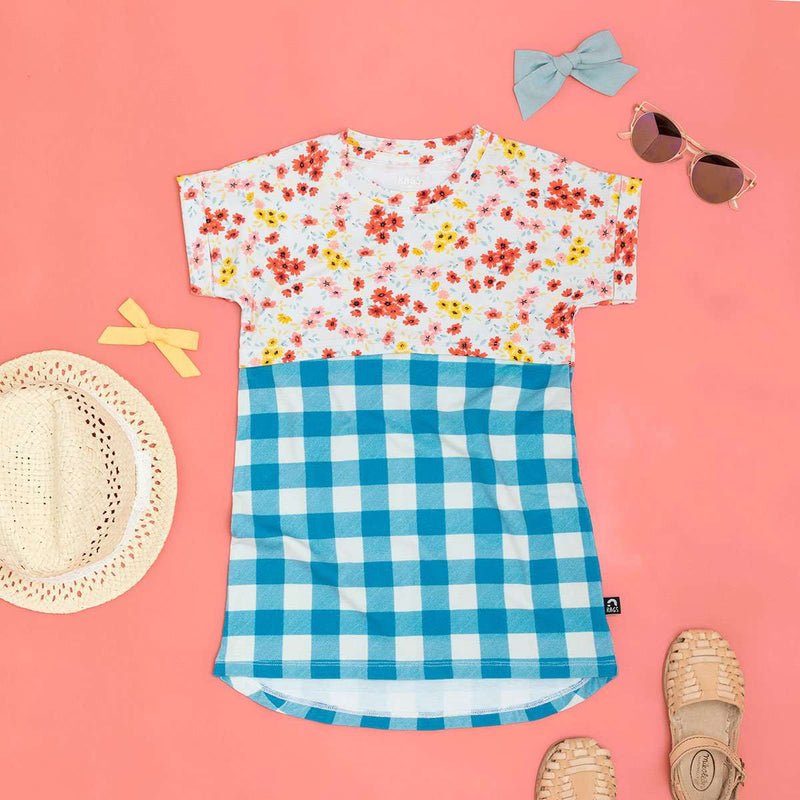 Combination Tee Shirt Dress - 'Floral Gingham Plaid'