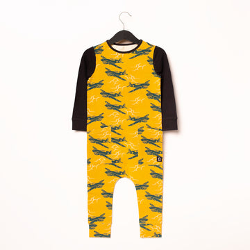 Long Sleeve Hip Pocket Rag Romper - 'Fighter Planes' - Mustard