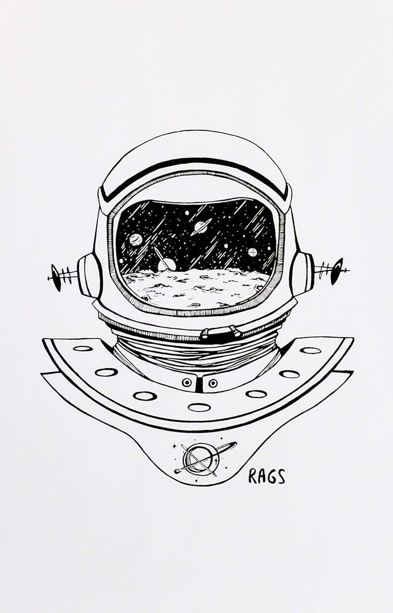 "Art Poster - 'Space Helmet' - 11""x17"""