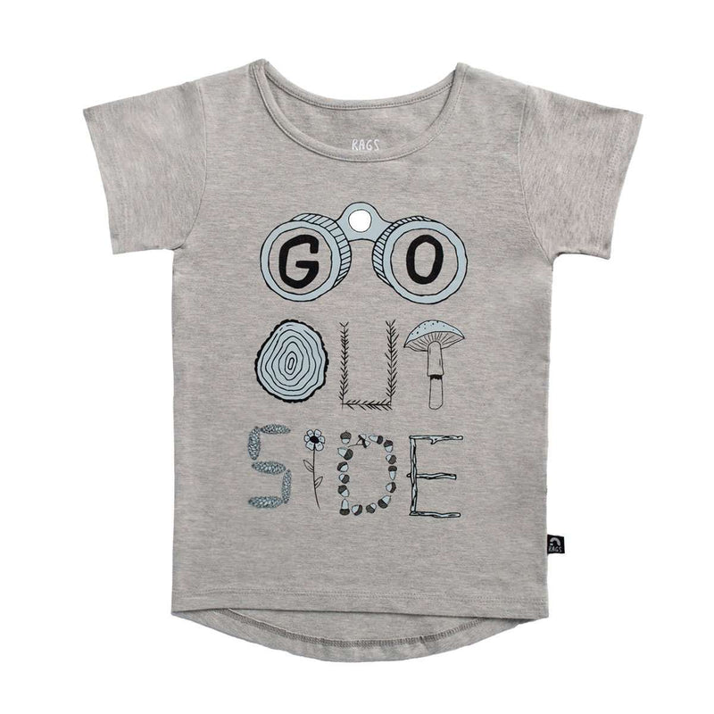 Kids OG Style Tee - 'Go Outside' - Heather Grey