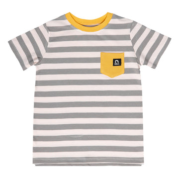 Short Sleeve Chest Pocket Tee - 'Antique Stripe' - White & Iron