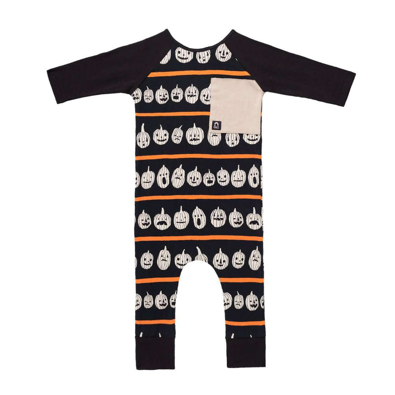 3/4 Sleeve Big Pocket RAG - 'Pumpkin Stripe' - Black and Orange