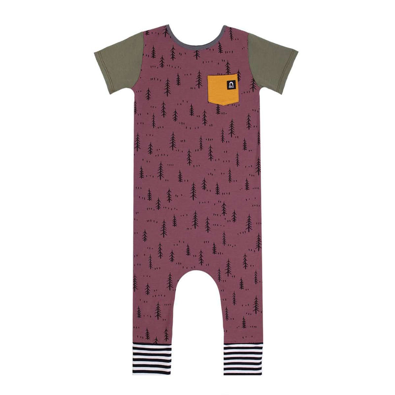 Short Sleeve Pocket Rag - 'Little Forest Print' - Purple