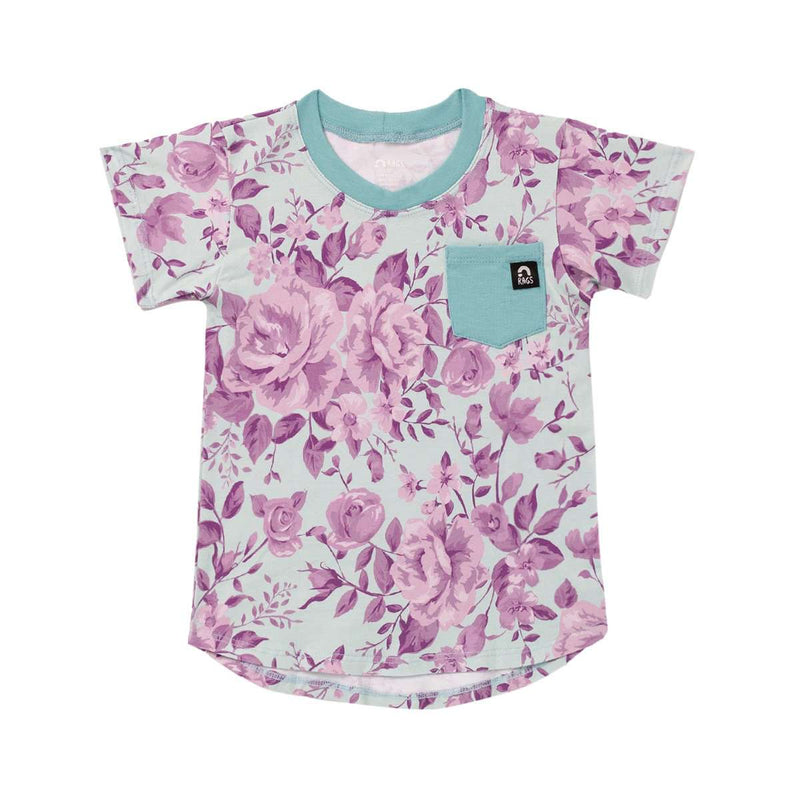 Short Sleeve Chest Pocket Tee - 'Rose Floral' - Light Blue