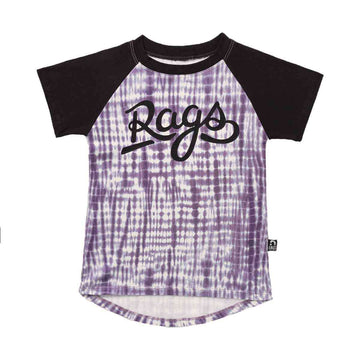 Kid's Raglan Drop Back Tee Shirt - 'Rags' - Purple Indigo Tie Dye