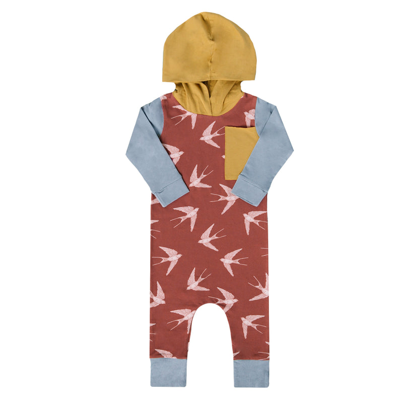 Long Sleeve Hooded Big Pocket Rag Romper - 'Swallows' - Maroon