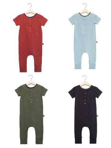 Short Sleeve Henley Essentials Rag - 'Multiple Color Options' - Rust, Phantom Black, Olive, or Icy Blue