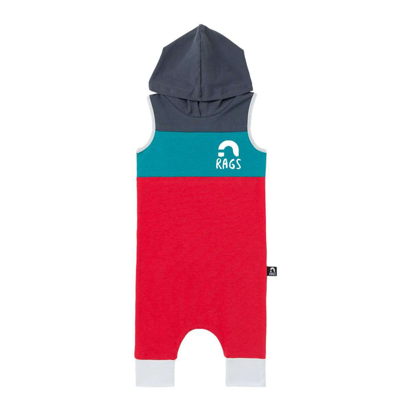 Tank Chest Yoke Hooded Capri Rag - Dark Slate, Blue Grass, True Red