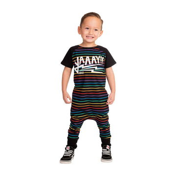 Short Sleeve Raglan Rag - 'YAAAY!!' - Black Neon Rainbow