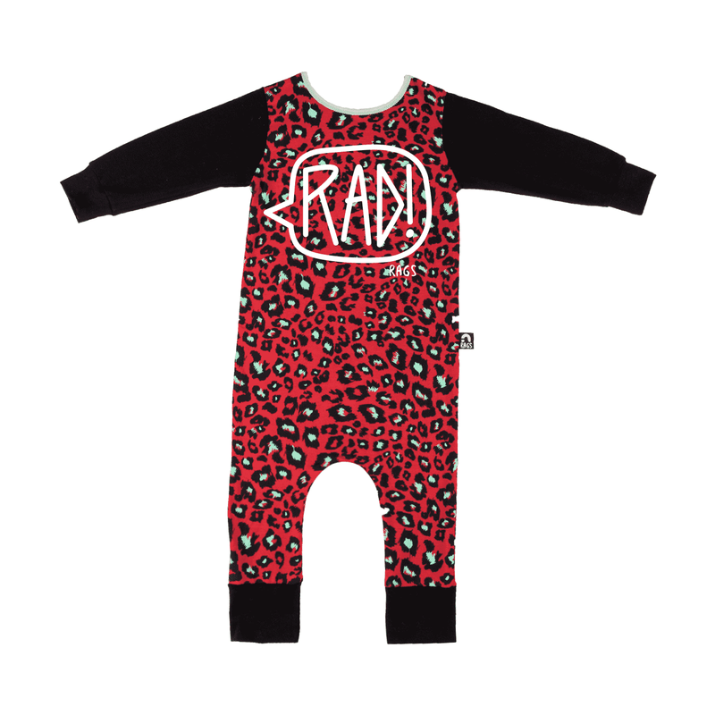 Long Sleeve RAG - 'RAD!' - Red & Mint Leopard
