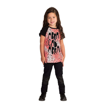 Kids Raglan Drop Back Tee Shirt  - 'Abracadabra' - Red Speckle