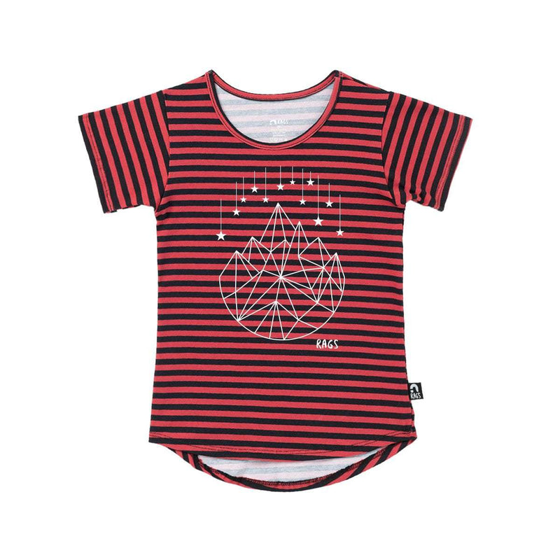 Kids Drop Back Tee Shirt  - 'Geostar' - Red and Navy Stripe