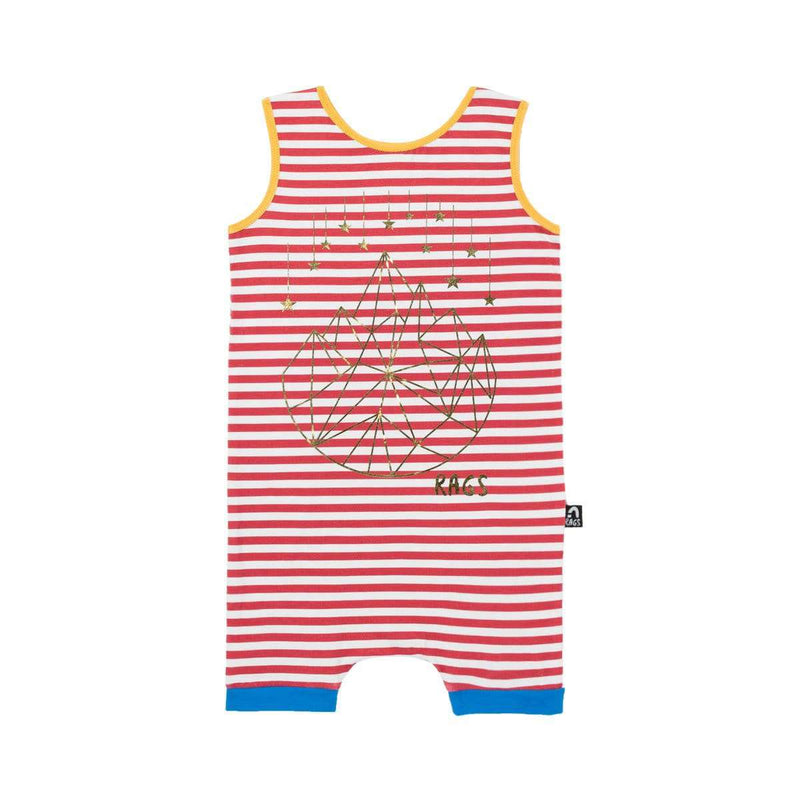 Tank Short Rag Romper - 'Geostar' - Red Stripe Gold Foil