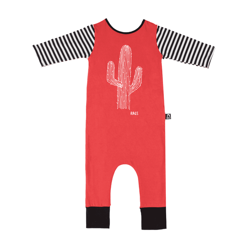 3/4 Length Sleeve Rag - 'Cactus' - Red with Stripe Sleeves