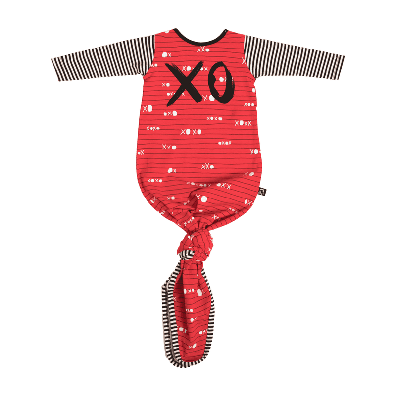 Baby Pouch - 'XO' - Red and Black Pinstripe