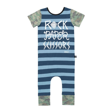 Short Sleeve Rag - 'Rock Paper Scissors' - Blue Stripes