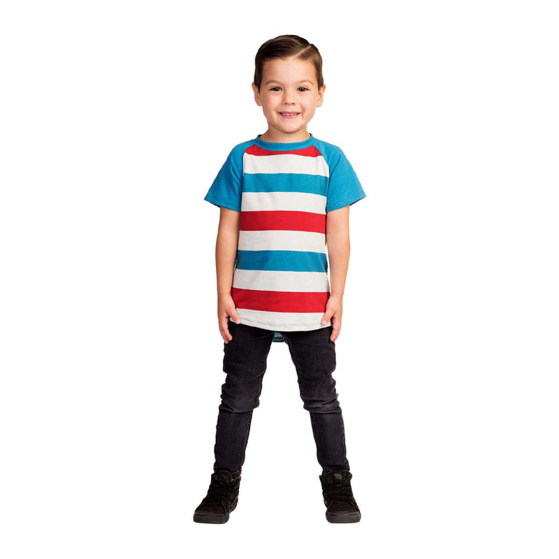 Kids Raglan Drop Back Tee Shirt  - 'Red & Blue Stripe'