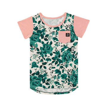 Kids OG Style Chest Pocket Tee - 'Green Rose Floral' - Signature Collection