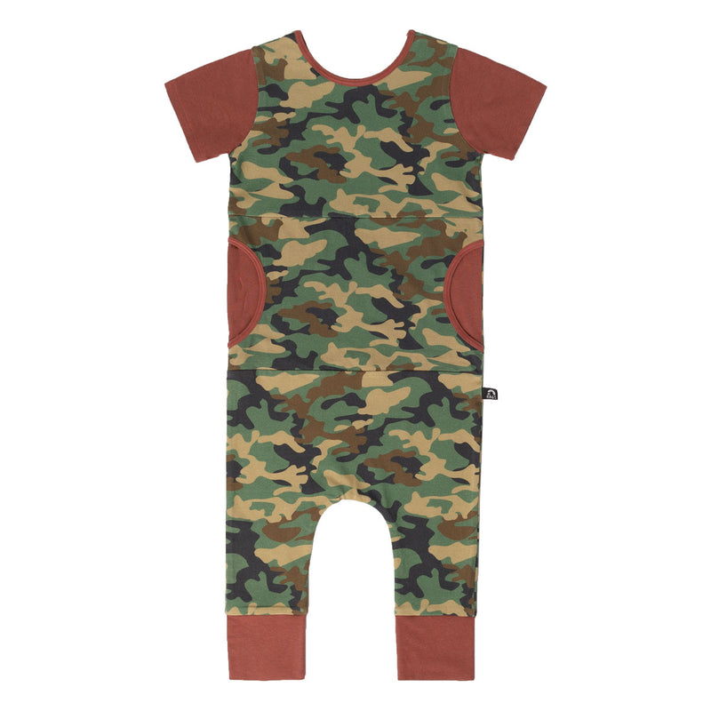 Short Sleeve Peek Pocket Rag Romper - 'Camo' - Maroon Sleeves