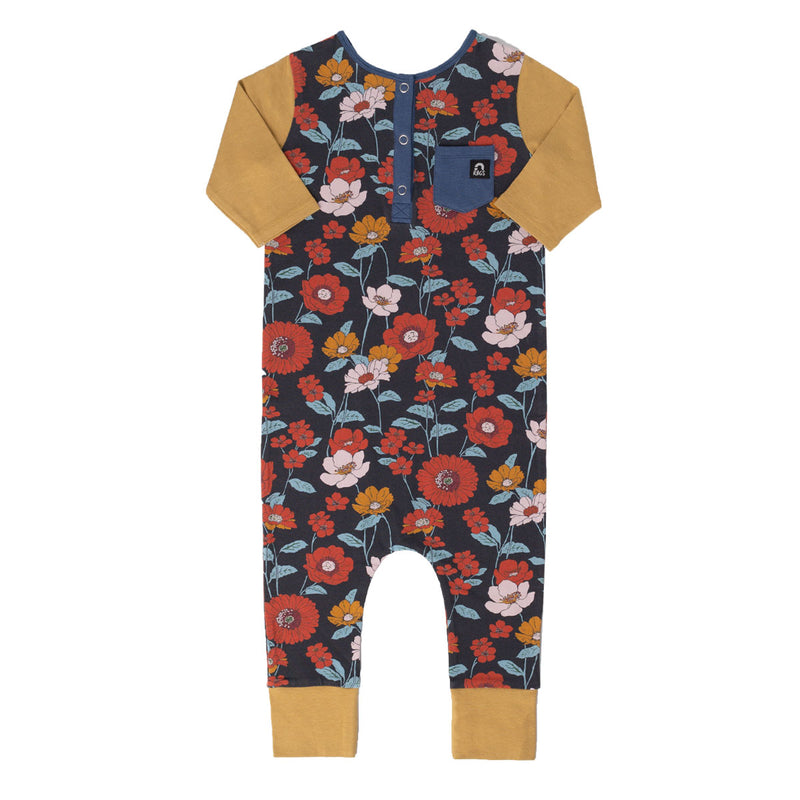 3/4 Sleeve Henley Rag Romper - 'Fall Poppy Floral' - Ensign Blue