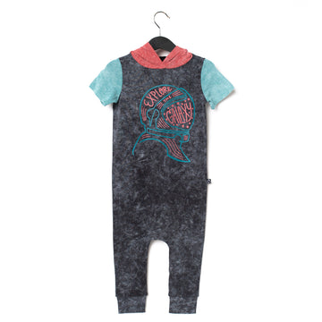 Short Sleeve Hooded Rag Romper - 'Explore the Galaxy' - Phantom