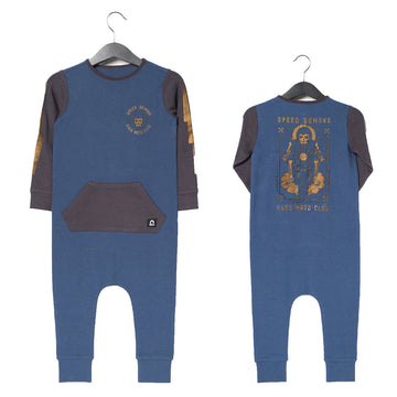 Long Sleeve Kangaroo Pocket Rag Romper - 'Speed Demons' - Ensign Blue