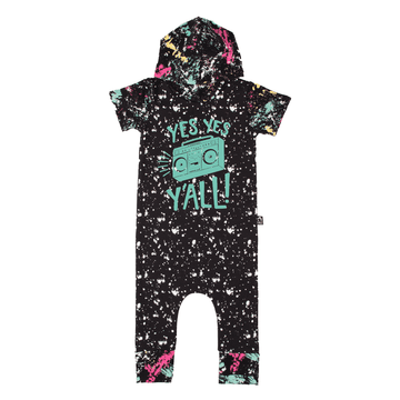 Short Sleeve Hooded Rag - 'Yes Yes Y'all!!' - Paint Splatter