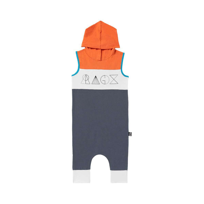 Tank Chest Yoke Hooded Capri Rag - 'Geometric RAGS' - Orange