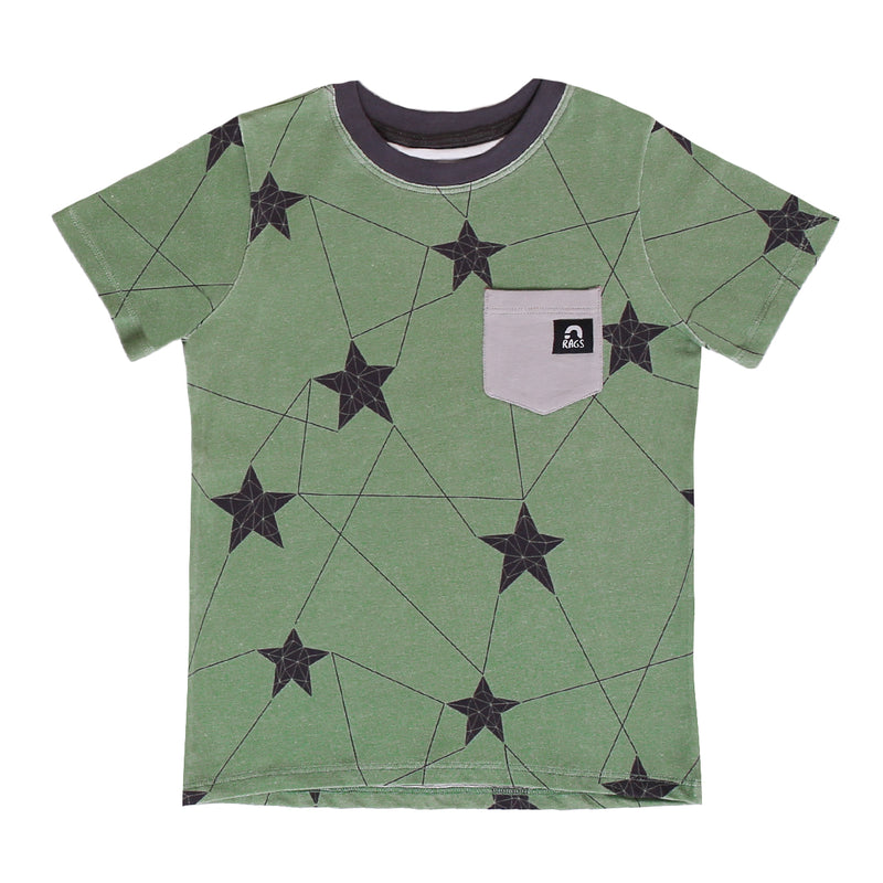 Short Sleeve Chest Pocket Tee - 'Winter Star' - Green