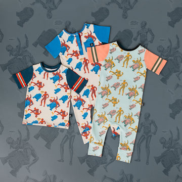 Retro Short Sleeve Rag Romper - 'Droids Pattern' -  Star Wars Collection from RAGS