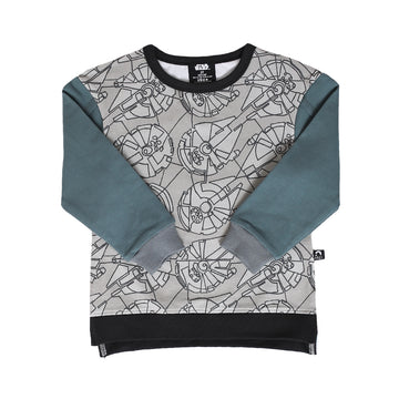 Kids Drop Shoulder Sweatshirt - 'Millennium Falcon Print' - Star Wars Collection from RAGS