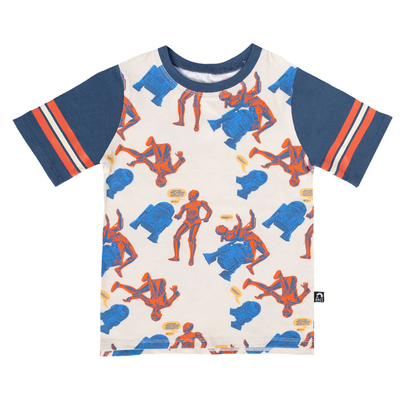 Retro Sleeve Kids Tee - 'Droids Pattern' - Star Wars Collection from RAGS