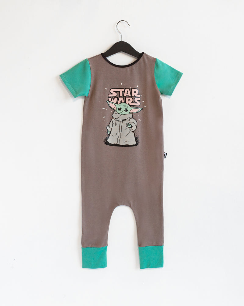 Short Sleeve Rag Romper - 'The Child' - Star Wars Collection from RAGS - The Mandalorian Baby Yoda - Deep Taupe