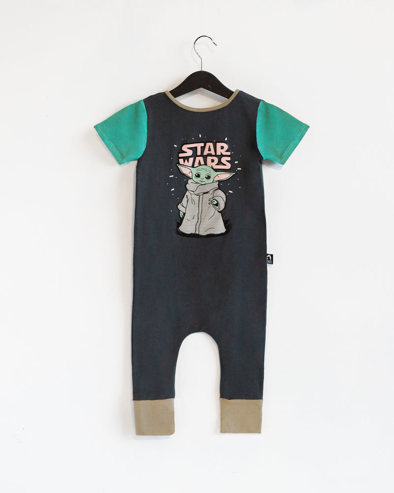 Short Sleeve Rag Romper - 'The Child' - Star Wars Collection from RAGS - The Mandalorian Baby Yoda - Charcoal