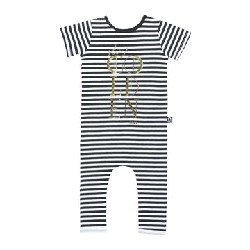 Short Sleeve Rag - 'Stay Golden' - Black and White Stripe
