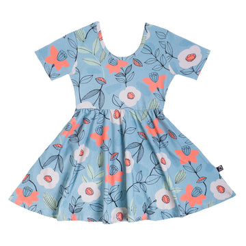 Short Sleeve Swing Dress - 'Fall Daffodil Floral' - Stone Blue