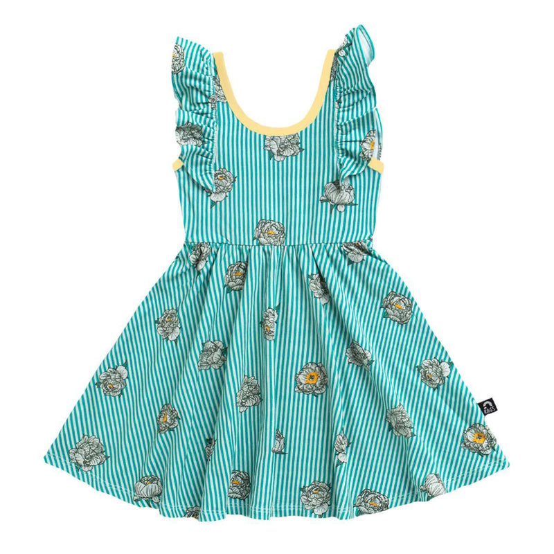 Tank Ruffle Swing Dress - 'Striped Floral' - Porcelain Green