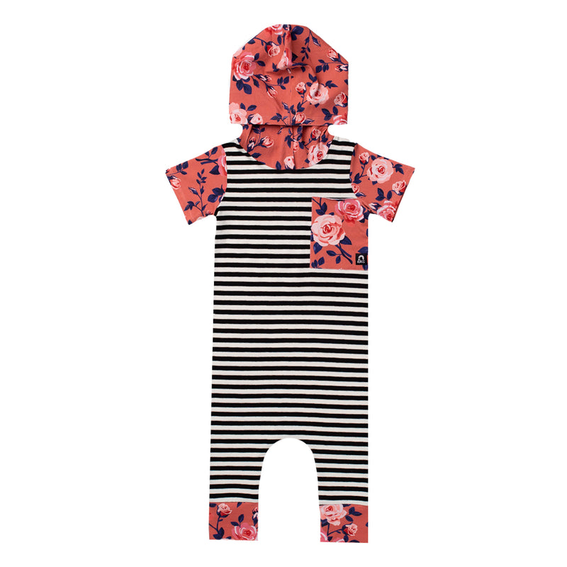 Short Sleeve Hooded Big Pocket Rag Romper - 'Coral Floral' - Black & White Stripe
