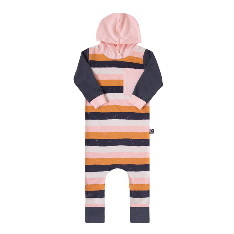 Long Sleeve Hooded Big Pocket Rag - 'Paint Stripe' - Chintz Rose